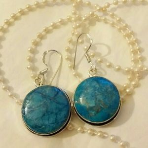 Beautiful Blue Howlite Gemstone Handmade Earrings